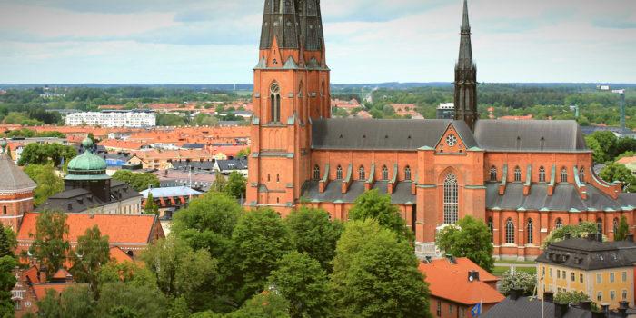 Uppsala domkyrka, vy från Uppsala slott